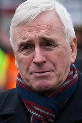 London, UK. 12th January, 2019. Shadow Chancellor John McDonnell is interviewed after addressing hundreds of protesters taking part in a 'Britain is Broken: General Election Now' demonstration organised by the People's Assembly Against Austerity. Organisers argued that the overriding objective of working people in the UK should be to remove the Conservative Government from power through a general election regardless of their vote in the EU referendum.