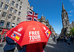 Free tour guide on the Royal Mile in Edinburgh Old Town, Scotland, UK