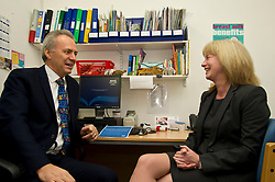 Pictured: Dr Alan McDevitt, Chairman of BMA's Scottish General Practitioners Committee discusses the agreement with Ms Shona Robison<br /> <br /> Today Health Secretary Shona Robison, MSP, visited The Grange Medical Practice in Edinburgh to mark an agreement with doctors' union, the BMA,  on the future of primary care services. <br /> <br /> Ger Harley | EEm 3 November 2016