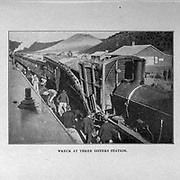 Train wreck at Three Sisters station from the book ' Boer and Britisher in South Africa; a history of the Boer-British war and the wars for United South Africa, together with biographies of the great men who made the history of South Africa ' By Neville, John Ormond Published by Thompson & Thomas, Chicago, USA in 1900