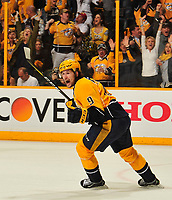 NASHVILLE, TN - APRIL 17:  Filip Forsberg #9 of the Nashville Predators reacts after scoring the game tying goal against the Chicago Blackhawks during the third period in Game Three of the Western Conference First Round during the 2017 NHL Stanley Cup Playoffs at Bridgestone Arena on April 17, 2017 in Nashville, Tennessee.  (Photo by Frederick Breedon/Getty Images)