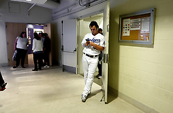 October 31, 2017 - Los Angeles, California, U.S. - Los Angeles Dodgers center fielder Joc Pederson takes a break in the tunnel prior to game six of a World Series baseball game agains the Houston Astros at Dodger Stadium on Tuesday, Oct. 31, 2017 in Los Angeles. (Photo by Keith Birmingham, Pasadena Star-News/SCNG) (Credit Image: © San Gabriel Valley Tribune via ZUMA Wire)