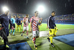 ZAGREB, Sep 2, 2017  Ivan Rakitic and Luka Modric of Croatia leaving the field after referee, in conjunction with the FIFA Match Commissioner, has decided to abandon the match between Croatia and Kosovo at the Maksimir stadium in Zagreb, capital of Croatia, September 2, 2017. Match abandoned in 22nd minute due to unsuitable pitch conditions. (Credit Image: © Goran Stanzl/Pixsell/Xinhua via ZUMA Wire)