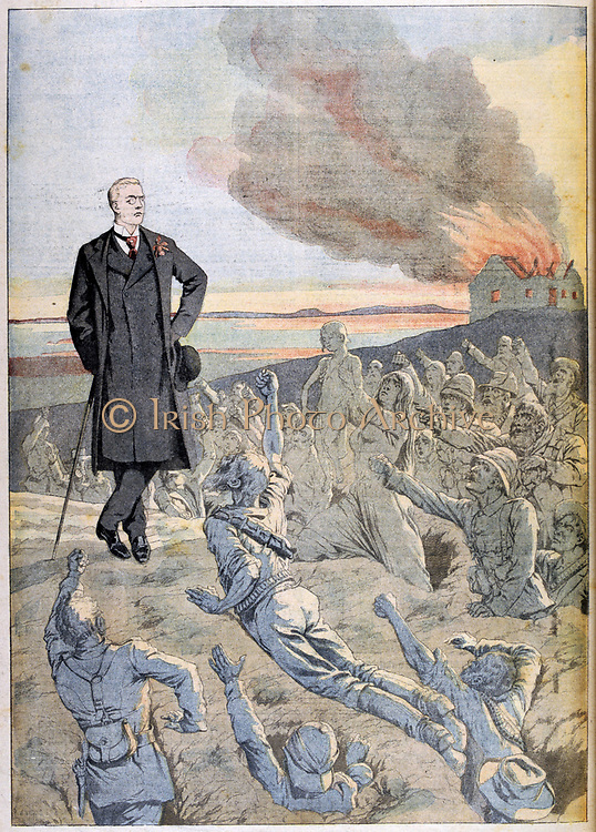 Joseph Chamberlain (1836-1914) British Liberal statesman. Chamberlain, as Secretary of State for the Colonies, visiting South Africa, being confronted by the ghosts of the British troops killed during the 2nd Boer War (1899-1902). From 'Le Petit Journal', Paris, 25 January 1903.