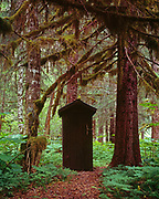 Forest Service Outhouse at Sitkoh Lake East Cabin, Chichagof Island, Tongass National Forest, Alaska.