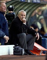 Photo. Jed Wee.<br /> Leeds United v Arsenal, FA Barclaycard Premiership, Elland Road, Leeds. 01/11/03.<br /> Oh dear. Leeds manager Peter Reid's expression tells the story of a woeful Leeds performance.