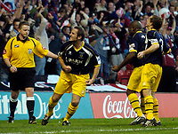 Photo: Jed Wee.<br />Nottingham Forest v Weymouth. The FA Cup.<br />05/11/2005.<br />Weymouth's Andrew Harris (2nd, L) celebrates his equaliser.
