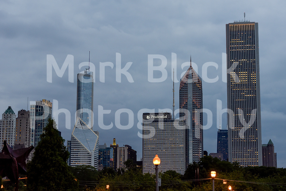 Chicago Skyline at night in Chicago, Illinois. Photo by Mark Black