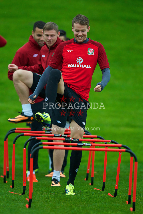 CARDIFF, WALES - Sunday, October 13, 2013: Wales' Chris Gunter during a training session at the Vale of Glamorgan ahead of the 2014 FIFA World Cup Brazil Qualifying Group A match against Belgium. (Pic by David Rawcliffe/Propaganda)