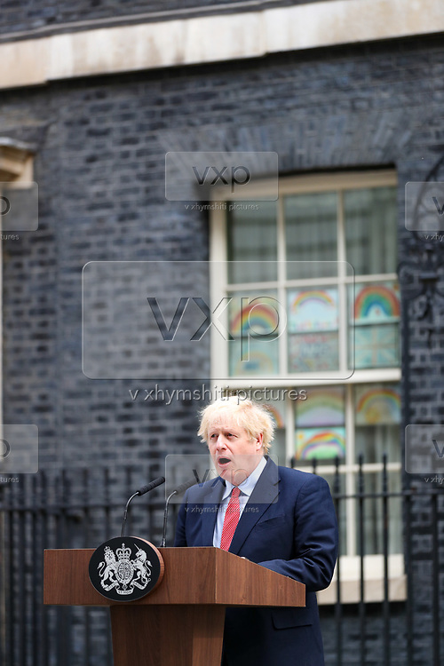 British Prime Minister Boris Johnson makes a statement on his first day back at work in Downing Street, London, after recovering from a bout with the coronavirus that put him in intensive care, Monday, April 27, 2020. The highly contagious COVID-19 coronavirus has impacted on nations around the globe, many imposing self isolation and exercising social distancing when people move from their homes. (Photo/Vudi Xhymshiti))