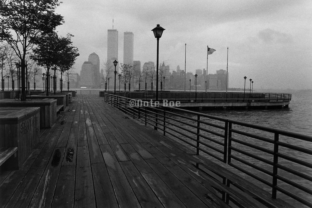 A pier with a view of the World Trade Center. New York NY