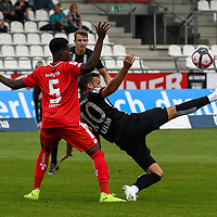 22.09.2019, Donaustadion, Ulm, GER, RL Suedwest, SSV Ulm 1846 Fussball vs 1. FSV Mainz 05 II, <br /> DFL REGULATIONS PROHIBIT ANY USE OF PHOTOGRAPHS AS IMAGE SEQUENCES AND/OR QUASI-VIDEO, <br /> im Bild Michael Akoto (Mainz, #5), Ardian Morina (Ulm, #10)<br /> <br /> Foto © nordphoto / Hafner