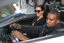 Kanye West and his girlfriend Kim Kardashian are seen in Paris on June 17, 2012. Photo by ABACAPRESS.COM  | 324549_007