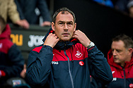 Manager of Swansea City, Paul Clement looks on from the touchline.Premier league match, Swansea city v Leicester city at the Liberty Stadium in Swansea, South Wales on Saturday 21st October 2017.<br /> pic by Aled Llywelyn, Andrew Orchard sports photography.