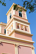 A tower of The Notre Dame des Anges church, Pondicherry, India. Built in the 1850s the church is in the  French Quarter of the town and looks out towards the Indian Ocean.