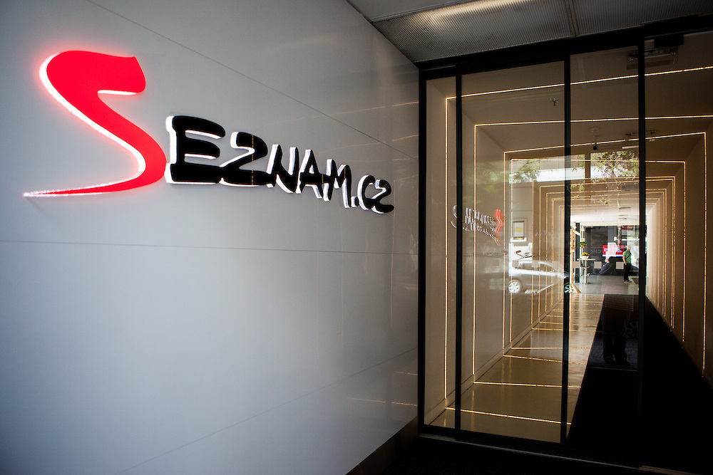 The logo of Seznam.cz  at the entrance to the headquaters of the web portal Seznam.cz located in Prague Smichov. Employees are allowed and welcome to take their dogs with them to work. Seznam.cz is a web portal and search engine in the Czech Republic. Founded in 1996 by Ivo Lukačovič in Prague as the first web portal in the Czech Republic. Seznam started with a search engine and an internet version of yellow pages. Today, Seznam runs more than 15 different web services and associated brands. Seznam had more than 6 million real users per month at the end of 2014.[3] Among the most popular services, according to NetMonitor, are its homepage seznam.cz, email.cz, search.seznam.cz and its yellow pages firmy.cz