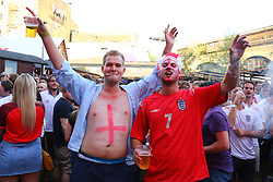 © Licensed to London News Pictures. 11/07/2018. London, UK. England fans in Flat Iron Square, London, as they wait for the England to play Croatia in the World Cup semi-final. Photo credit: Rob Pinney/LNP