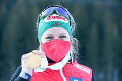 Hauser Lisa Theresa of Austria celebrates with gold medal after the IBU World Championships Biathlon 12,5 km Mass start Women competition on February 21, 2021 in Pokljuka, Slovenia. Photo by Vid Ponikvar / Sportida
