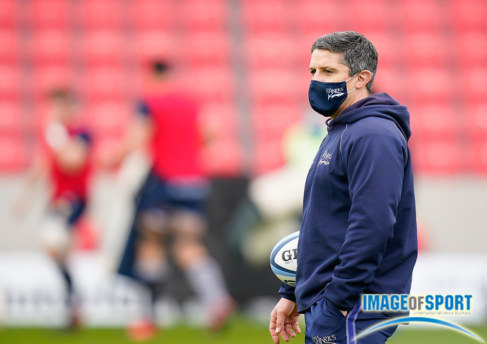 Sale Sharks Head Coach Paul Deacon watches the players warm up before the game during a Gallagher Premiership Round 14 Rugby Union match, Sunday, Mar 21, 2021, in Eccles, United Kingdom. (Steve Flynn/Image of Sport)