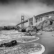 Golden Gate Bridge - Marshalls Beach Incoming Tide - Black & White