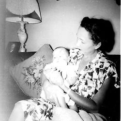 HS730   Pauline Pierce (mother of Barbara Pierce Bush) holds George W. Bush, <br /> 1946.<br /> Photo Credit:  George Bush Presidential Library