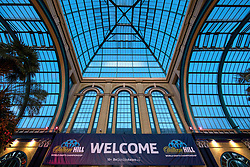 General view of of the Palm Court entrance during day one of the William Hill World Darts Championship at Alexandra Palace, London. PRESS ASSOCIATION Photo. Picture date: Thursday December 14, 2017. See PA story DARTS World. Photo credit should read: Steven Paston/PA Wire. RESTRICTIONS: Use subject to restrictions. Editorial use only. No commercial use. Call +44 (0)1158 447447 for further information.