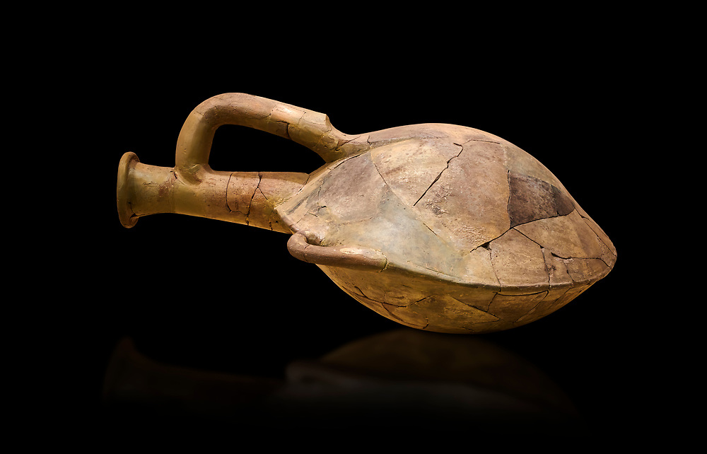 Hittite terra cotta water bottle carried by straps on the back. Hittite Old Period, 1650 - 1450 BC. Huseyindede. Çorum Archaeological Museum, Corum, Turkey. Against a black bacground. .<br />  <br /> If you prefer to buy from our ALAMY STOCK LIBRARY page at https://www.alamy.com/portfolio/paul-williams-funkystock/hittite-art-antiquities.html  - Type Pottery Corum into the LOWER SEARCH WITHIN GALLERY box. Refine search by adding background colour, place,etc<br /> <br /> Visit our HITTITE PHOTO COLLECTIONS for more photos to download or buy as wall art prints https://funkystock.photoshelter.com/gallery-collection/The-Hittites-Art-Artefacts-Antiquities-Historic-Sites-Pictures-Images-of/C0000NUBSMhSc3Oo .<br /> <br /> If you prefer to buy from our ALAMY STOCK LIBRARY page at https://www.alamy.com/portfolio/paul-williams-funkystock/hittite-art-antiquities.html  - Huseyindede into the LOWER SEARCH WITHIN GALLERY box. Refine search by adding background colour, place, museum etc<br /> <br /> Visit our HITTITE PHOTO COLLECTIONS for more photos to download or buy as wall art prints https://funkystock.photoshelter.com/gallery-collection/The-Hittites-Art-Artefacts-Antiquities-Historic-Sites-Pictures-Images-of/C0000NUBSMhSc3Oo
