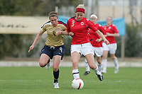 20080310: ALVOR, PORTUGAL – USA vs Norway during XV Algarve Women 's Football Cup. In picture: O'Reilly (USA) and Gunhild Folstad (NOR). PHOTO: CITYFILES