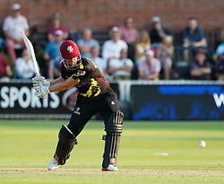 Somerset's James Hildreth attacks the ball<br /> <br /> Photographer Simon King/Replay Images<br /> <br /> Vitality Blast T20 - Round 1 - Somerset v Gloucestershire - Friday 6th July 2018 - Cooper Associates County Ground - Taunton<br /> <br /> World Copyright © Replay Images . All rights reserved. info@replayimages.co.uk - http://replayimages.co.uk