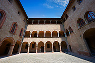 Picture & image of the interior courtyard of the late medieval (13th century) moated urban castle reisdence of Rocca Sanvitale ( Sanvitale Castle ),  Fontanellato, Italy .<br /> <br /> Visit our ITALY PHOTO COLLECTION for more   photos of Italy to download or buy as prints https://funkystock.photoshelter.com/gallery-collection/2b-Pictures-Images-of-Italy-Photos-of-Italian-Historic-Landmark-Sites/C0000qxA2zGFjd_k<br /> If you prefer to buy from our ALAMY PHOTO LIBRARY  Collection visit : https://www.alamy.com/portfolio/paul-williams-funkystock/rocca-sanvitale.html .<br /> <br /> Visit our ITALY HISTORIC PLACES PHOTO COLLECTION for more   photos of Italy to download or buy as prints https://funkystock.photoshelter.com/gallery-collection/2b-Pictures-Images-of-Italy-Photos-of-Italian-Historic-Landmark-Sites/C0000qxA2zGFjd_k<br /> .<br /> <br /> Visit our MEDIEVAL PHOTO COLLECTIONS for more   photos  to download or buy as prints https://funkystock.photoshelter.com/gallery-collection/Medieval-Middle-Ages-Historic-Places-Arcaeological-Sites-Pictures-Images-of/C0000B5ZA54_WD0s