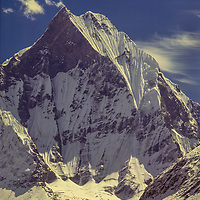 """Machapuchhare Peak (""""The Fish Tail"""") a sacred mountain in Nepal, towers above the Annapurna Sanctuary in Nepal."""