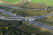 Nederland, Noord-Brabant, Eindhoven, 24-10-2013; Knooppunt Ekkersweijer, kruising A50 met A2, detail.<br /> Ringroad Eindhoven, Ekkersweijer Junction<br /> luchtfoto (toeslag op standaard tarieven);<br /> aerial photo (additional fee required);<br /> copyright foto/photo Siebe Swart.