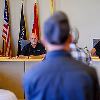 County Commissioners Carol Bowman-Muskett, left, Bill Lee and Genevieve Jackson listens to comments during the McKinley County Commission meeting Wednesday at the McKinley County Courthouse in Gallup.