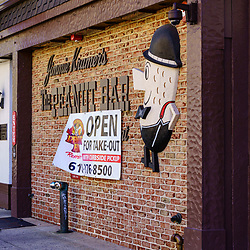 Reading, PA, USA - September 19, 2020: Jimmie Kramer's Peanut Bar and Restaurant is a well-known establishment in downtown Reading, Berks County, PA.