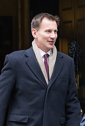 Downing Street, London, October 25th 2016. Health Secretary Jeremy Hunt leaves10 Downing Street following the weekly cabinet meeting and the announcement that the construction of a third runway at Heathrow Airport has initial government approval.