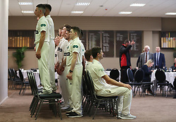 Leicestershire players pose for a sponsors team group during the media day at Grace Road, Leicester.
