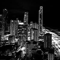 Skyline of Gold Coast, Night shot, black and white image