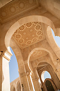 Low angle view of arches in Hassan II Mosque in Casablanca, Morocco