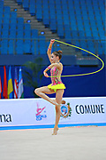 """Bevilacqua Sofia during rope routine at the International Tournament of rhythmic gymnastics """"Città di Pesaro"""", 01 April, 2016. Sofia is an Italian individualistic gymnast, born on March 02, 2002 in Fano.<br /> This tournament dedicated to the youngest athletes is at the same time of the World Cup."""
