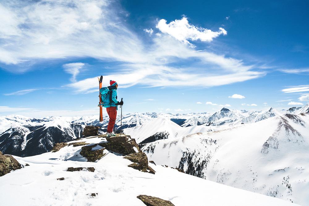Day 6 - Ouray resident Averill Doering ski tours near the Opus Hut, San Juan Range, Colorado.