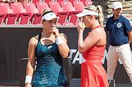 Danka Kovinic and Alexa Guarachi during the 2019 Swedish Open in Båstad on July 13, 2019. Photo Credit: Katja Boll/EVENTMEDIA.