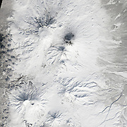 """Five Volcanoes Erupting at Once<br /> <br /> Remote. Cold. Rugged. Those three adjectives capture the essence of Russia's Kamchatka Peninsula. Another word—perhaps more applicable than anywhere else on Earth—is """"fiery.""""<br /> Of the roughly 1,550 volcanoes that have erupted in the recent geologic past, 113 are found on Kamchatka. Forty Kamchatkan volcanoes are """"active,"""" either erupting now or capable of erupting on short notice. The Operational Land Imager (OLI) on Landsat 8 captured activity at five of them during a single satellite pass on April 14, 2014.<br /> From geographic north to south (and top to bottom on this page), the volcanoes are Shiveluch, Klyuchevskaya, Bezymianny, Kizimen, and Karymsky. The tallest of the group is Klyuchevskaya, a stratovolcano with a steep, symmetrical cone that reaches 4,750 meters (15,580 feet) above sea level. The most active is Karymsky, a 1,536-meter (5,039-foot) peak that has erupted regularly since 1996.<br /> Plate tectonics is responsible for the many volcanoes on Kamchatka Peninsula. The Pacific Plate is slowly colliding with and sliding beneath the Okhotsk Plate. As rock from the Pacific Plate descends and encounters higher pressures and temperatures, it melts into magma. Over time, magma accumulates and migrates up toward the surface, causing volcanic eruptions.<br /> Long before the discovery of plate tectonics, Kamchatka's many volcanoes and eruptions were woven into a rich tapestry of myths and creation stories. According to Koryak folklore, the raven-like deity Kutkh created Kamchatka by dropping a giant feather on the Pacific Ocean. Each of the first generation of men became one of Kamchatka's mountains at death; many of these mountains became volcanic because the men's hearts burned so passionately for a beautiful woman that Kutkh had also created near the beginning of time.<br /> Photo Shows Bezymianny<br /> ©Earth Observatory/Exclusivepix"""