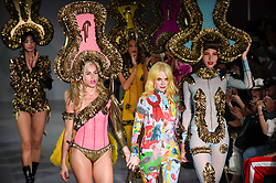 © Licensed to London News Pictures. 13/09/2019. LONDON, UK.  Pam Hogg (C) and models at the end of her show at Fashion Scout SS20, an off schedule show at Victoria House in Bloomsbury Square, on the opening day of London Fashion Week.  Photo credit: Stephen Chung/LNP