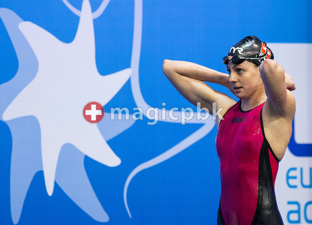 Danielle VILLARS of Switzerland walks out after competing in the women's 200m Butterfly Final during the 18th LEN European Short Course Swimming Championships held at the Wingate Institute in Netanya, Israel, Friday, Dec. 4, 2015. (Photo by Patrick B. Kraemer / MAGICPBK)