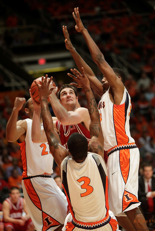 10 January 2009: Indiana forward Kyle Taber (44) as the Indiana Hoosiers played the Illinois Illini in a college basketball game in Champaign, Ill.