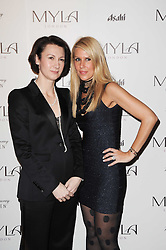 Left to right, Myla CEO DIANE METCALFE and Myla's Creative Director CYNTHIA GABAY at a party to celebrate the 10th anniversary of the Myla lingerie brand held at Almada, 17 Berkeley Street, London on 17th November 2010.