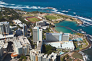 Aerial view of San Juan City looking the Hilton Caribe resort San Juan, Puerto Rico.
