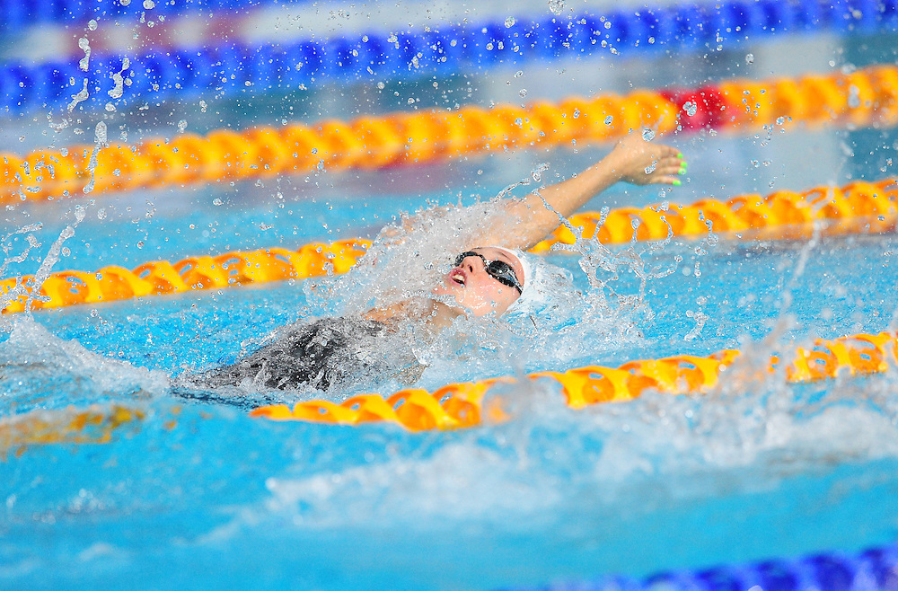 Wales' Georgia Davies competes in the women's 100m backstroke final when she finished second<br /> <br /> Photographer Chris Vaughan/CameraSport<br /> <br /> 20th Commonwealth Games - Day 3 - Saturday 26th July 2014 - Swimming - Tollcross International Swimming Centre - Glasgow - UK<br /> <br /> © CameraSport - 43 Linden Ave. Countesthorpe. Leicester. England. LE8 5PG - Tel: +44 (0) 116 277 4147 - admin@camerasport.com - www.camerasport.com