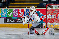 KELOWNA, CANADA - FEBRUARY 10: Brodan Salmond #31 of the Kelowna Rockets keeps his eye on the puck during warm up against the Vancouver Giants on February 10, 2017 at Prospera Place in Kelowna, British Columbia, Canada.  (Photo by Marissa Baecker/Shoot the Breeze)  *** Local Caption ***