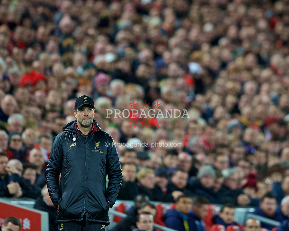LIVERPOOL, ENGLAND - Sunday, December 2, 2018: Liverpool's manager Jürgen Klopp during the FA Premier League match between Liverpool FC and Everton FC at Anfield, the 232nd Merseyside Derby. (Pic by Paul Greenwood/Propaganda)